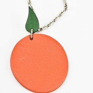 Hermes Accessories - HERMES: Orange, Leather Key Chain/Fob/Bag Charm